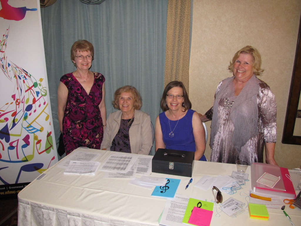 Volunteers at the registration table on August 7